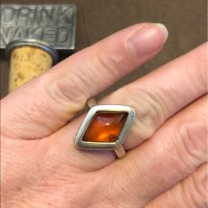 Artisan sterling silver beautiful amber ring